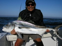 Lynn Boyd with roosterfish on the fly